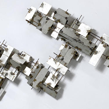 42 x 37 Vintage Modern Brutalist Abstract Metal Wall Sculpture 1970s by 20cModern