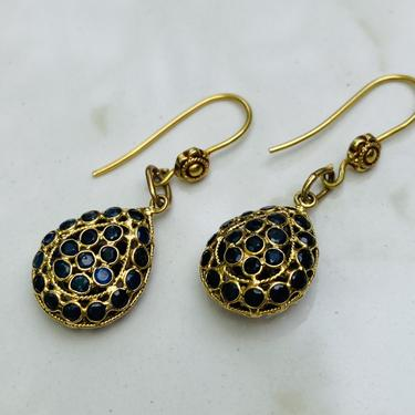 Vintage Gold Sapphire Drop Earrings