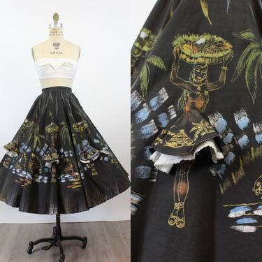 1950s hand painted mexican CARMEN MIRANDA 3D skirt xs   new spring by CrushVintage