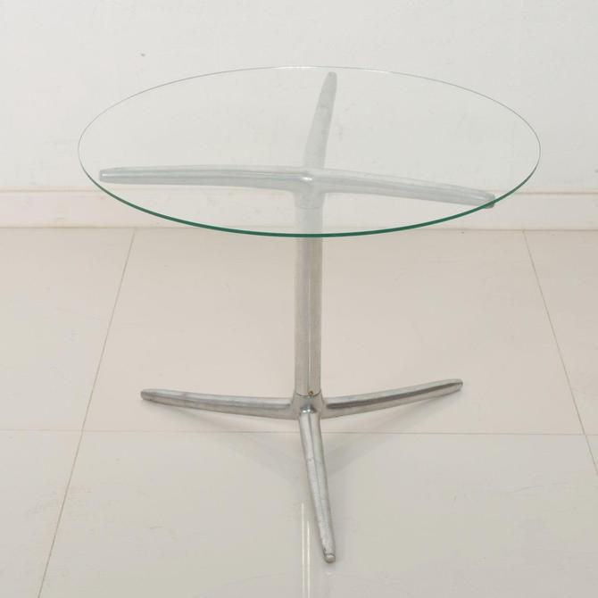 Midcentury Modern Low Profile Tripod Side Table in Aluminum by AMBIANIC