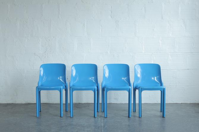 Stackable Blue Chairs by Vico Magistretti