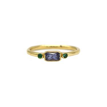 Blue Sapphire Baguette + Emerald Ring