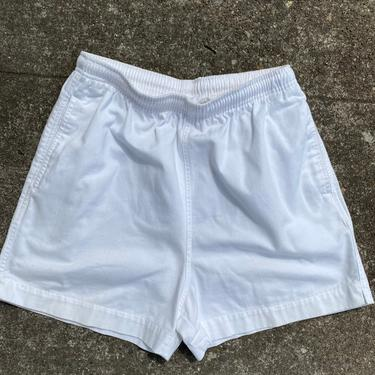 Vintage 90's shorts~100% cotton high waisted sporty shorts~ elastic drawstring pockets~ gym shorts activewear~  size 4-6 ~white 1990's by HattiesVintagePDX