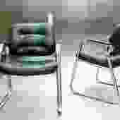 Vintage 20C Modernist Chrome & Tufted ArmChairs