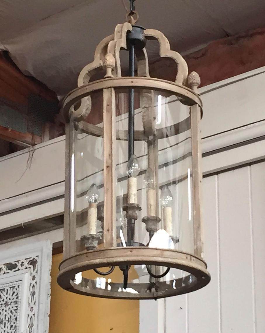 Wood Amp Curved Glass Chandelier Lantern 6 Lights From
