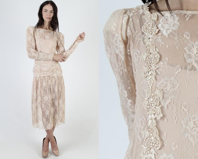 Vintage 80s Deco Wedding Dress / Sheer Floral Lace Flapper Dress / See Through Bridal Outfit / Champagne Blush Gatsby Inspired Dress by americanarchive