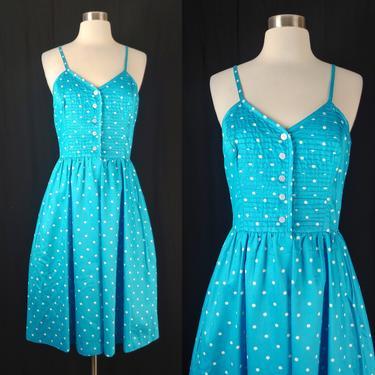 Vintage Seventies XS Blue Polka Dot Polished Cotton Spaghetti Strap Sun Dress - 60s Altogether Fashion Blue Half Button Fit and Flare Dress by JanetandJaneVintage