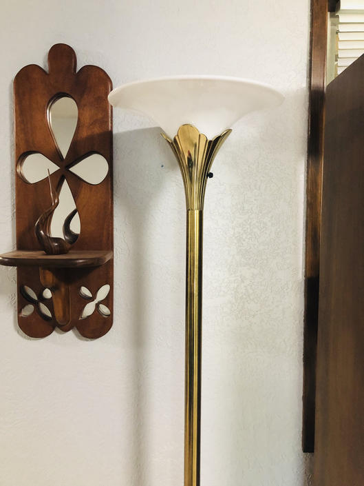 Vintage Brass Floor Lamp Stiffel Lily by OrWaDesigns