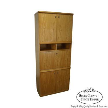 Thomasville Mid Century Modern Tall Blond Bookcase Cabinet w/ Drop Down Desk by BucksEstateTraders