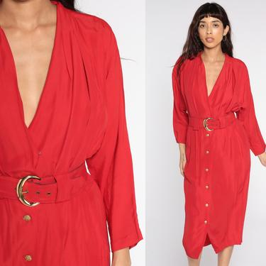 Red V Neck Dress 80s Midi High Waist Shift Dress Button Up 1980s Vintage Plunge Neckline Plunging Long Sleeve Small by ShopExile