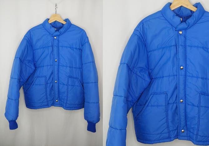 Vintage Eighties Unitog Blue Puffer Jacket - 80s Zip Front Large Winter Coat by JanetandJaneVintage