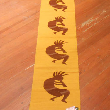 Vintage Handwoven Tribal Textile Table Runner Native Peruvian Indian Tribe Dancer Dancing Warrior Wall Hanging Tapestry Peru South America by kissmyattvintage