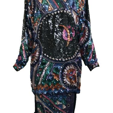 Judith Ann 80s Extravagantly Beaded and Sequined Rainbow Fantasy Dress