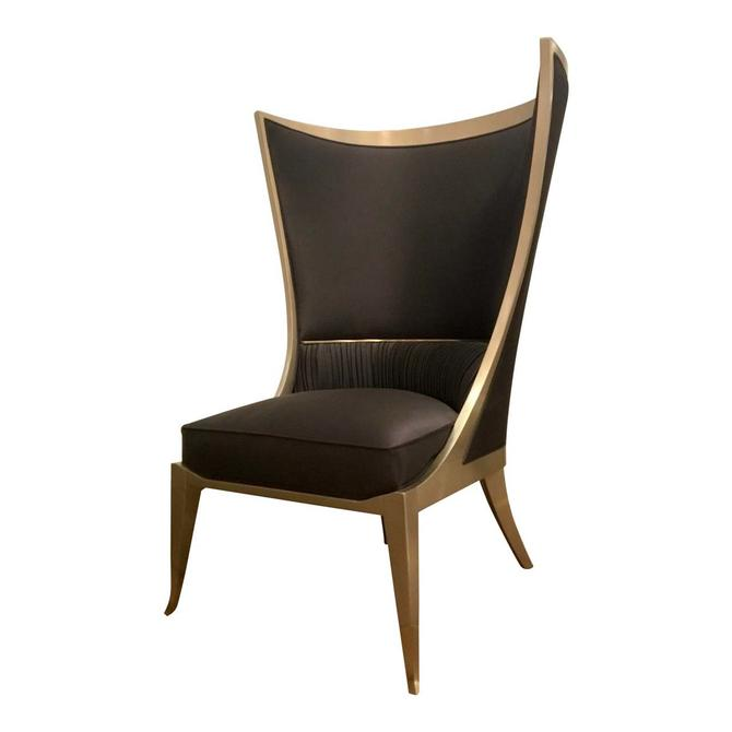 Caracole Modern Hollywood Regency Style Pop Your Collar Wingback Chair