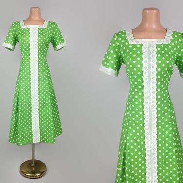 VINTAGE 60s 70s Lime Green Polka Dot Scooter Dress | 1960s Flared Dress | Larger Plus Size Volup vintage by IntrigueYouForever
