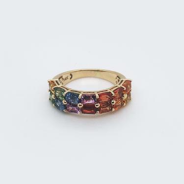 Rainbow Sapphire Emerald Cut Baguette Ring