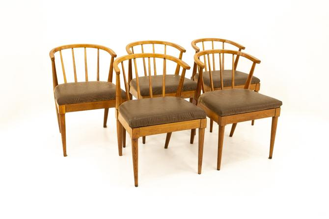 Mid Century Walnut Barrel Dining Chairs with Spindles - Set of 5 - mcm by ModernHill