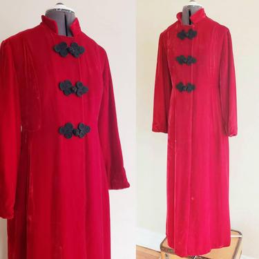 60s 70s Red Velvet Maxi Coat Soutache Closure Bonwit Teller /Boho Opera, Evening or Cossack Coat Fantasy Costume Steampunk Cosplay M Miranda by RareJuleVintage