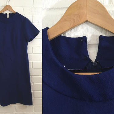 Vintage Navy Blue Shift Dress Sears Fashions 60s Mod 1960s Twiggy Short MCM Space Age USA Sleeves Women's XXL Plus Volup Curvy Extra Large by CheckEngineVintage