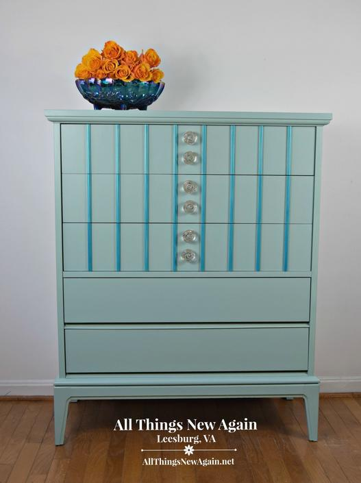 Turquoise Dresser | Aqua Dresser | Blue Dresser | Turquoise Chest of Drawers | Vintage | Blue Bedroom Furniture | Blue Chest of Drawers by AllThingsNewAgainVA