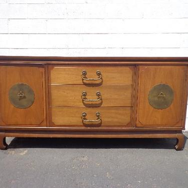 Asian Chinoiserie Sideboard Console Vintage Century Furniture Cabinet Chest Console Brass Table Chinese Carved Wood Boho CUSTOM PAINT AVAIL by DejaVuDecors