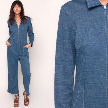70s Jumpsuit Bell Bottom Pants Boho Hippie DENIM-LOOK Front Zip Up Disco Bohemian Blue Vintage Pantsuit Long Sleeve Medium by ShopExile