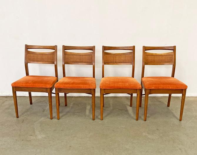 Set of 4 Mid-Century Modern American of Martinsville Walnut Cane Dining Chairs by AnnexMarketplace