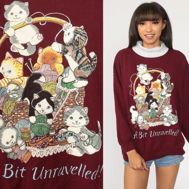 Cat Sweatshirt A BIT UNRAVELLED Kitten Sweater 80s Animal Sweatshirt Vintage 90s Pun Shirt Graphic Burgundy Mock Neck Extra Large xl by ShopExile