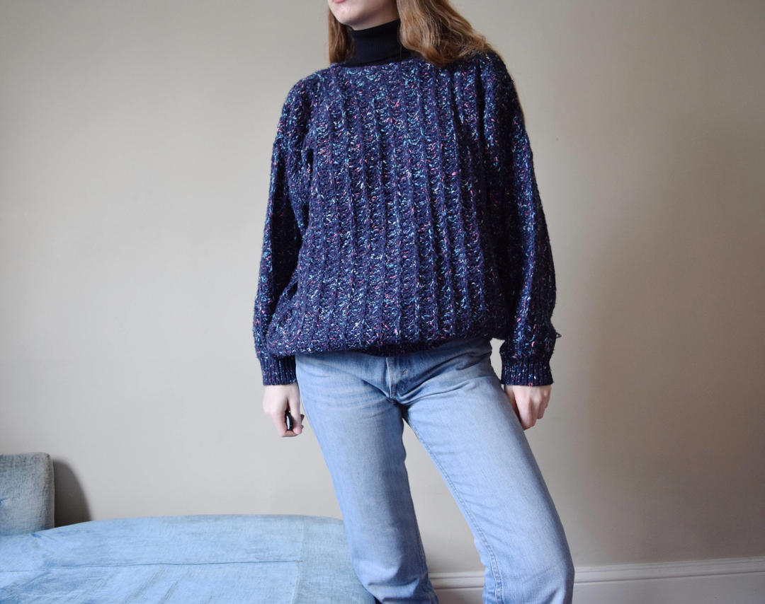 80s Flecked Chunky Knit Sweater Blue Confetti Cotton