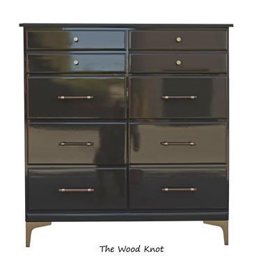 Crawford Furniture High Gloss Gray Tall Dresser