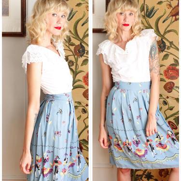 1940s Skirt // Flamenco Dance Novelty Skirt // vintage 40s rayon skirt by dethrosevintage