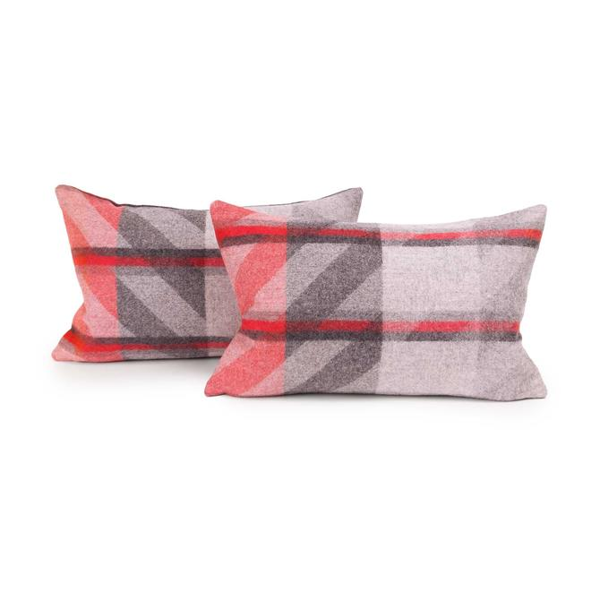 Red Plaid Lambswool Lumbar Pillow Cover (Pair) by MCMSanFrancisco