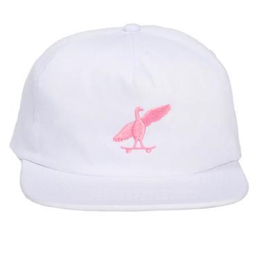 Skatebird 5 panel hat (white)
