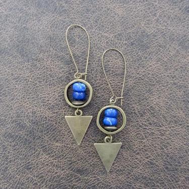 Imperial jasper earrings, modern earrings, unique statement earrings, royal blue earrings, contemporary chic earrings, industrial bronze by Afrocasian
