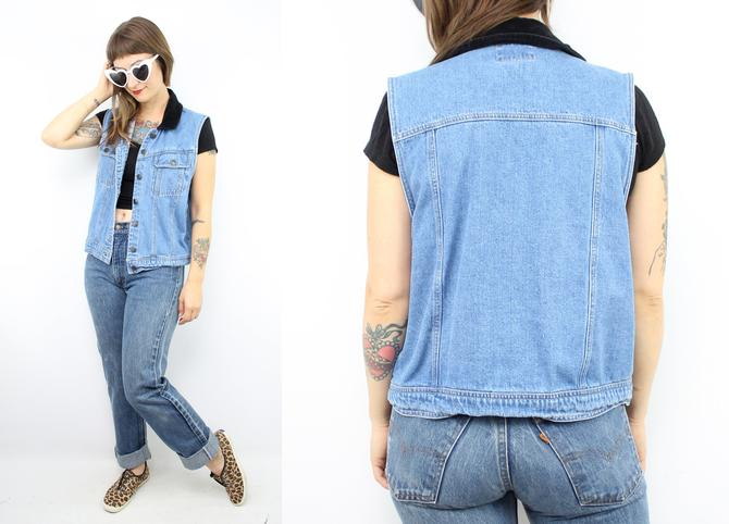 20ae7b22ed1a Vintage 90's Blue Denim Vest / 1990's Sleeveless Denim ...