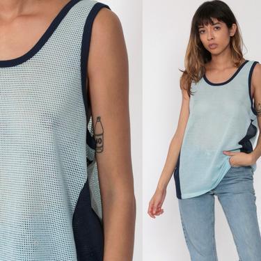 Sheer Ringer Tee Shirt Blue Mesh Tank Top 80s Shirt Pastel Baby Blue Retro Sleeveless Top 1980s Vintage Sports Jersey Plain Medium Large by ShopExile