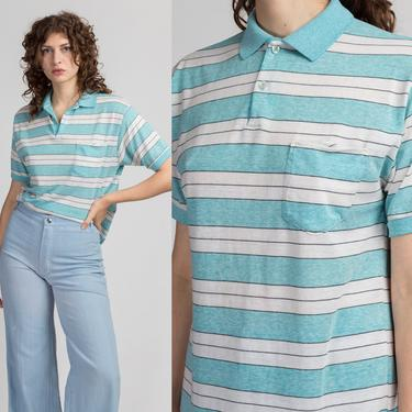 Retro 80s Blue & White Striped Polo Shirt - Large   Vintage Le Tigre Short Sleeve Collared Top by FlyingAppleVintage