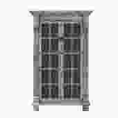 Distressed Pastel Black Gray Tall Glass Door Display Bookcase Cabinet cs5388S