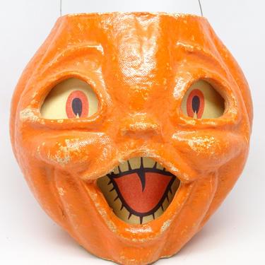 Vintage Large 7 1/4 Inch 1950's Halloween Jack-O-Lantern, Orange, Made with Pulp Paper Mache, Retro Decor by exploremag
