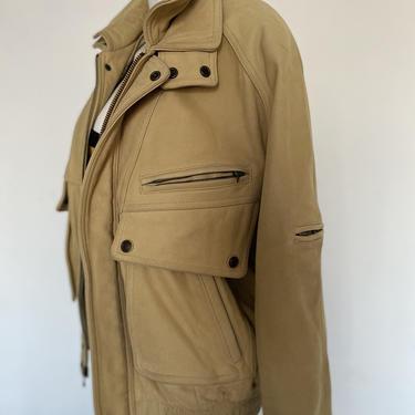 80s 90s Men's Vintage leather jacket WILSONS Adventure Bound mortocycle jacket, heavy duty moto jacket off white tan size medium m 38 40 by ShopRVF