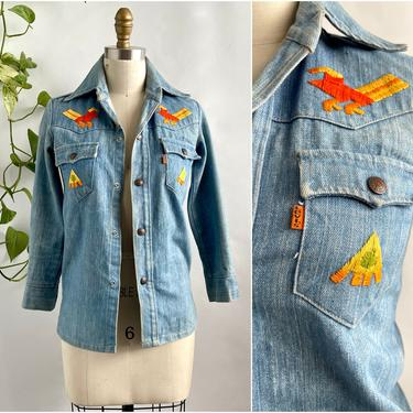 LEVI'S Orange Tab Vintage 70s Denim Shirt w/ Mexican Style Hand Embroidery, 1970s Jean Jacket | 60s 1960s Hippie Boho Bohemian, Size X Small by lovestreetsf