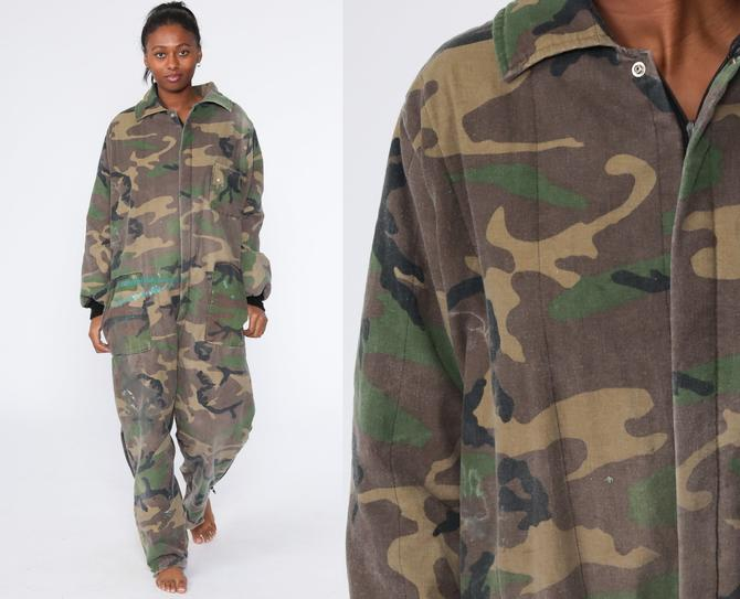 Insulated Camo Jumpsuit Army Coveralls Distressed Military Jumpsuit Camouflage 80s Hunting Boilersuit Vintage Long Sleeve Extra Large xl by ShopExile