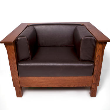 Mission Arts & Crafts Stickley style Panel Leather Club Cube Chair by DaleMartinFurniture