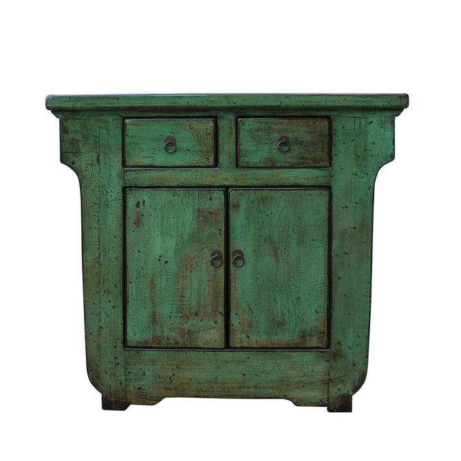 Distressed Green Lacquer Oriental Mid Size Credenza Table Cabinet cs5332S