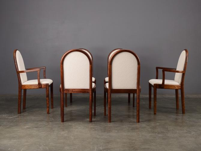 6 Vintage Modern Mahogany Dining Chairs with Ivory/Cream Fabric by MadsenModern