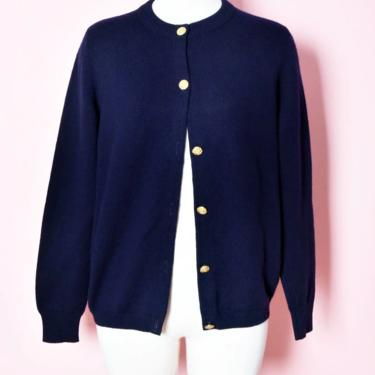 """Blue CASHMERE Cardigan Sweater Scotland, Scotch House, 40"""" Chest, long sleeve, Vintage Dark Navy Blue Blouse Top Shirt, 70's, 80's, 60's by Boutique369"""