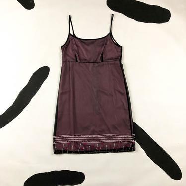90s Spaghetti Strap Pink and Black Mesh Overlay Mini Dress / Floral Embroidery / Medium / Size 8 / Goth / Cyber / Club Kid / y2k / 00s / M by badatpettingcats