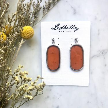 Cider Translucent Stained Glass Oval Earrings | Stained Glass Earrings | Translucent Earrings | Oval Earrings | Statement Earrings by LedbellyVintage