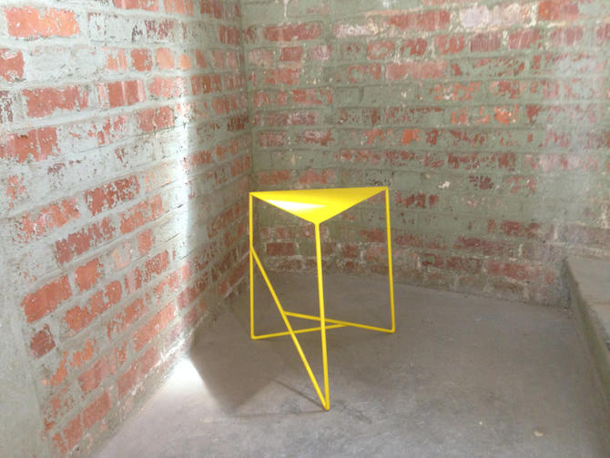 Modern Geometric Steel Side Table with Triangle Top by PWHFurniture