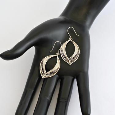 70's unusual 960 silver open leaf hippie couture dangles, big elegant Soviet Russia fine silver filigree curved leaves bohemian earrings by BetseysBeauties
